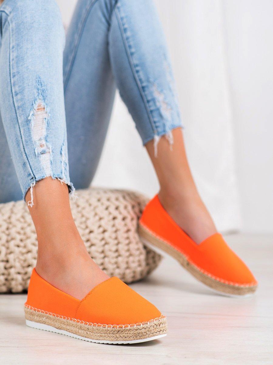TEKSTYLNE ESPADRYLE - odcienie pomarańczowego SMALL SWAN