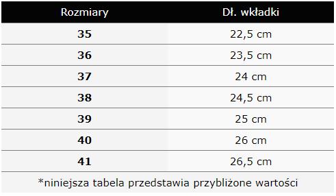 tabela rozmiarów zamszowe botki seastar od czasnabuty.pl