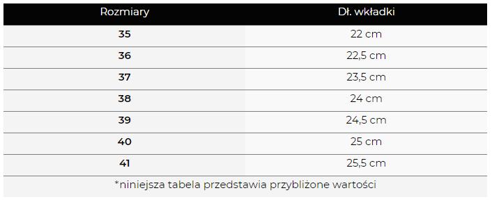tabela rozmiarów szpilki smallswan od czasnabuty.pl