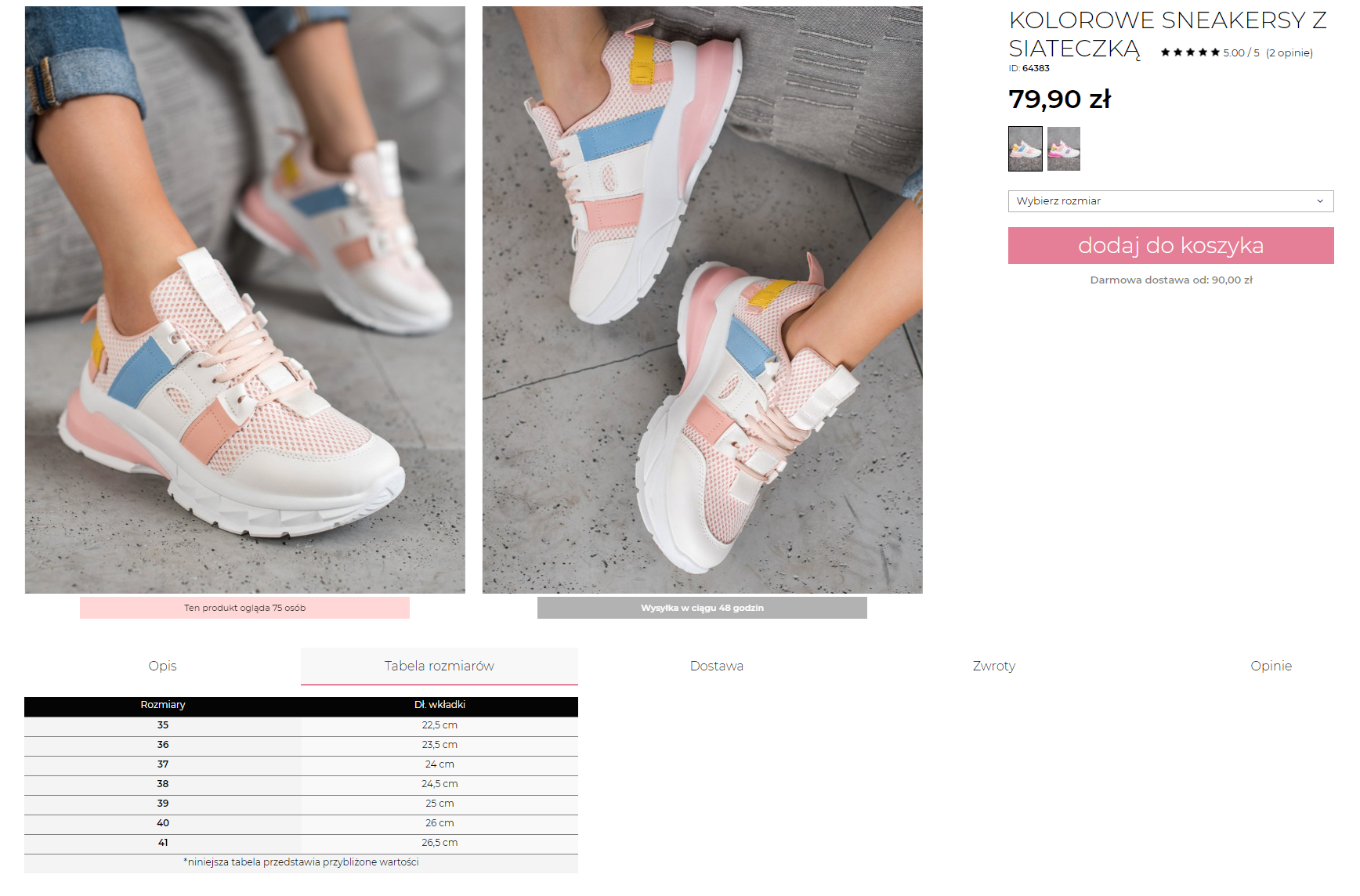 tabela rozmiarów umieszczona pod zdjęciem produktu – butów sportowych
