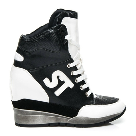 SNEAKERSY NA KOTURNIE BLACK & WHITE