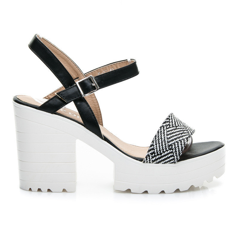 BLACK & WHITE BLOCK HEELS