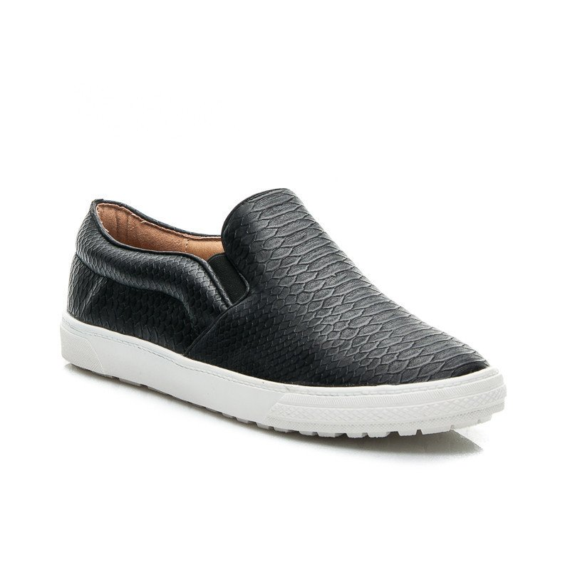 FANCY BLACK CROC SLIP ON