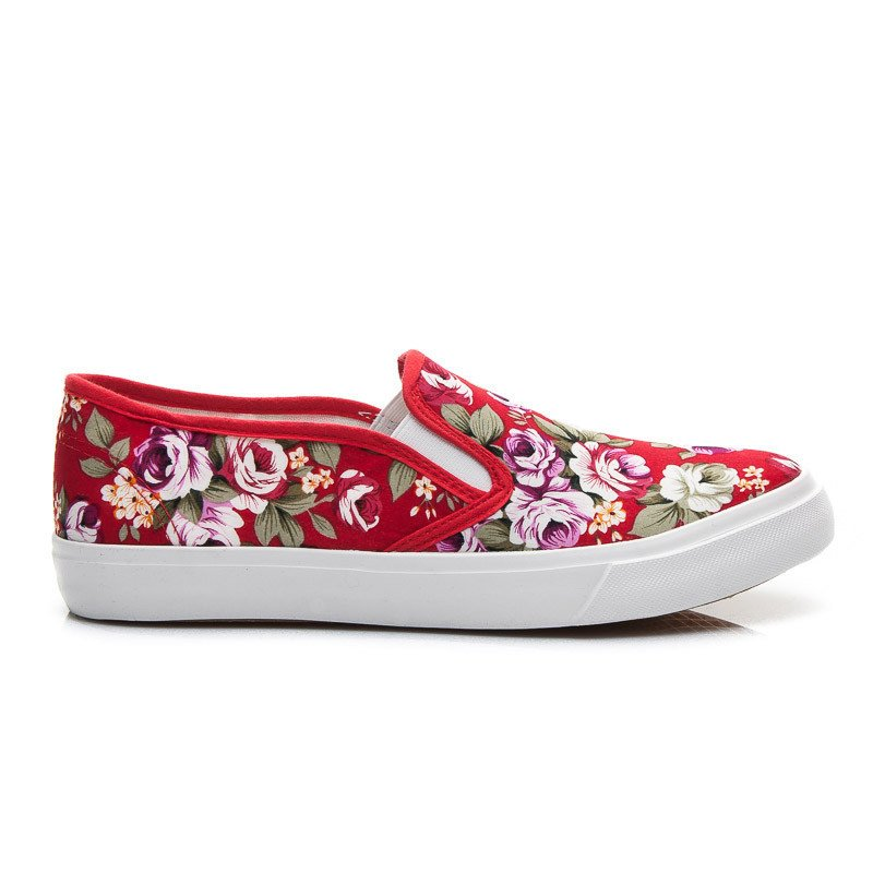 RED FLOWER SLIP ON
